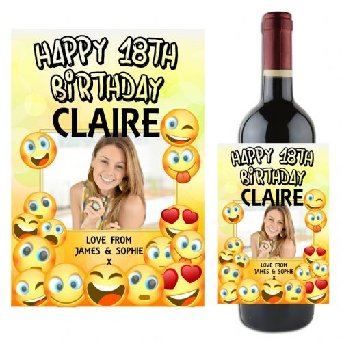 Personalised EMOJI Happy Birthday Wine / Champagne Bottle PHOTO Label N112